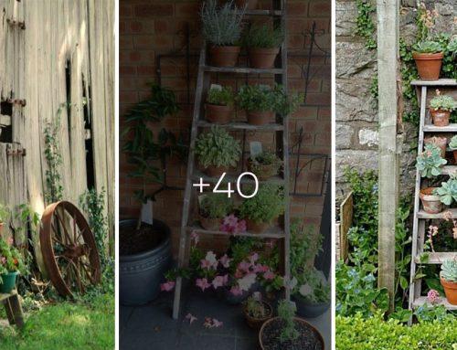 Starý rebrík opretý v záhrade ľahko premeníte na fantastickú dekoráciu