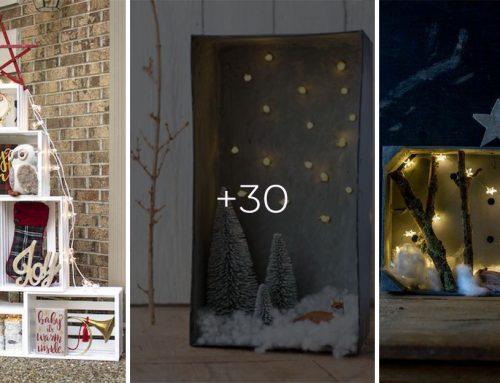 30 skvelých vianočných nápadov, ako si môžete prerobiť drevenú debničku na dekoráciu