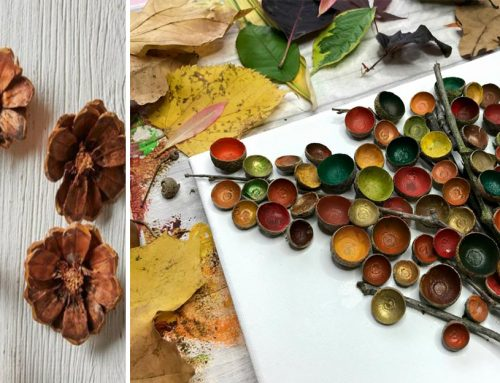 Aj prírodné dekorácie vedia žiariť všetkými farbami. Z šišiek urobte kvety a listy pomaľujte