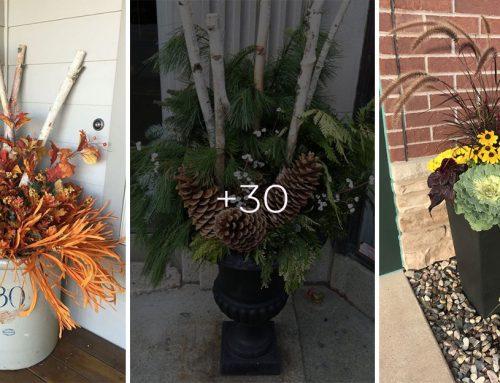 Máte pred vchodovými dverami vysoké kvetináče? 30 nápadov, ako ich naladiť na jeseň